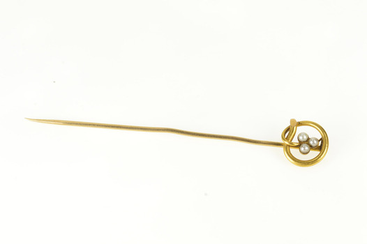 14K Pearl Inset Shamrock Clover Victorian Yellow Gold Stick Pin
