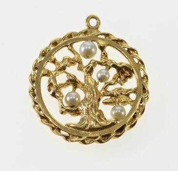 14K Pearl Inset Tree Of Life Ornate Twist Trim Yellow Gold Charm/Pendant