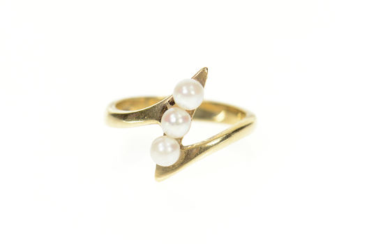 14K Pearl Inset Zig Zag Bypass Statement Yellow Gold Ring, Size 6.25