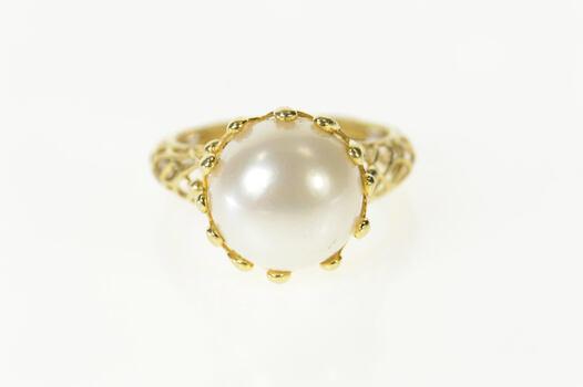 14K Pearl Lattice Filigree Elaborate Statement Yellow Gold Ring, Size 8