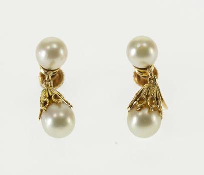14K Pearl Ornate Inset Screw Back Dangle Yellow Gold EarRings