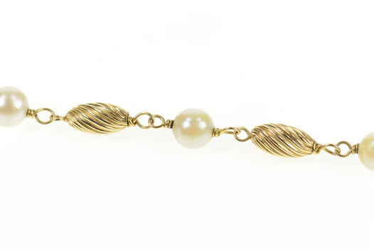"14K Pearl Oval Twist Bead Retro Classic Yellow Gold Bracelet 7.5"""