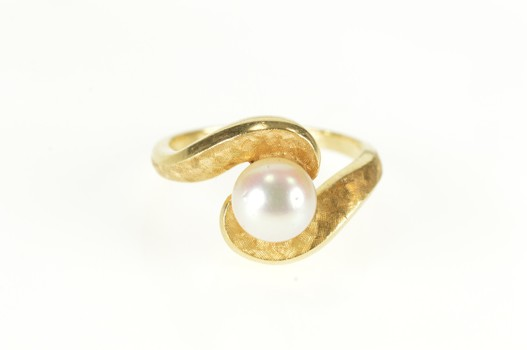 14K Pearl Textured Pattern Wavy Bypass Yellow Gold Ring, Size 6.5