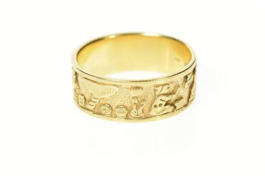 14K Peruvian Ornate Tribal Motif Men's Band Yellow Gold Ring, Size 13.75
