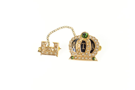 14K Phi Theta Alpha Crown Seed Pearl E Lapel Yellow Gold Pin/Brooch