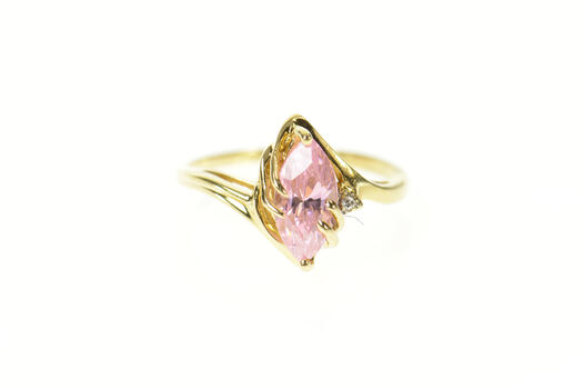 14K Pink Cubic Zirconia Diamond Accent Bypass Yellow Gold Ring, Size 6