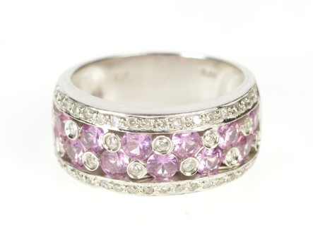 14K Pink Sapphire Diamond Encrusted Band White Gold Ring, Size 7.7