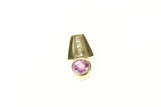 14K Pink Sapphire Diamond Squared Drop Yellow Gold Pendant