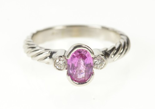 14K Pink Sapphire Diamond Twist Engagement White Gold Ring, Size 7.25