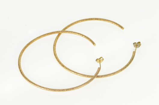 14K Pitted Texture Huge Fashion Semi Hoop Yellow Gold Earrings
