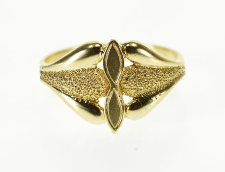 14K Pitted Textured Rounded Petal Accent Design Yellow Gold Ring, Size 5.5