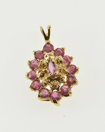 14K Pointed Oval Ornate Ruby Diamond Inset Cluster Yellow Gold Pendant