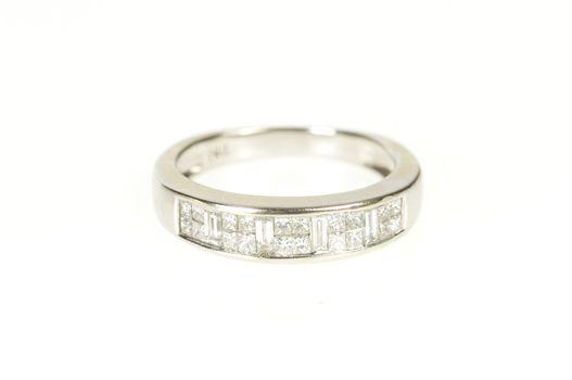 14K Princess Baguette Diamond Wedding Band White Gold Ring, Size 5.5