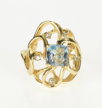 14K Princess Cut Blue Topaz Diamond Cocktail Yellow Gold Ring, Size 6.25