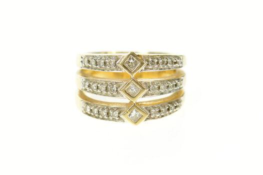 14K Princess Diamond Tiered Statement Band Yellow Gold Ring, Size 7.25