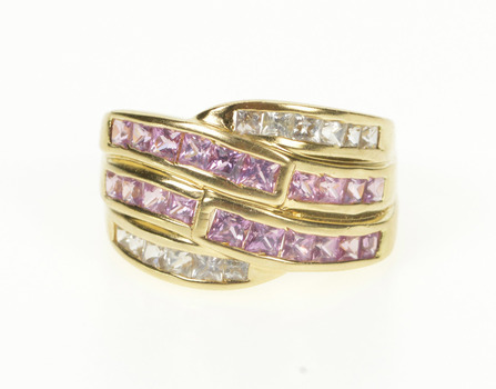 14K Princess Pink Topaz Cubic Zirconia Wavy Band Yellow Gold Ring, Size 7