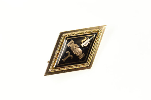 14K Psi Upsilon Enamel Diamond Fraternity Lapel Yellow Gold Pin/Brooch