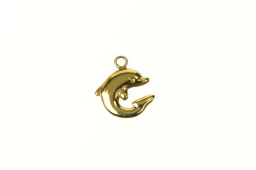 14K Puffy Dolphin Ocean Motif Beach Yellow Gold Charm/Pendant