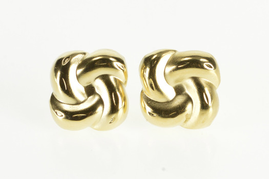 14K Puffy High Relief Swirl Spiral Stud Post Back Yellow Gold Earrings