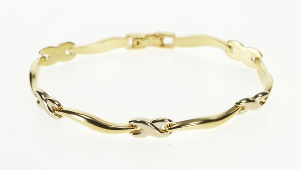 14K Puffy Hugs Kisses Wavy Bar Link Fashion Yellow Gold Bracelet 7""