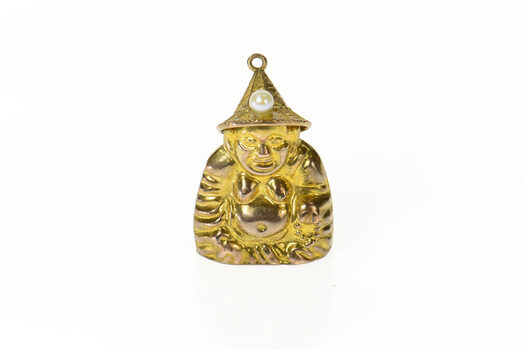 14K Puffy Ornate Buddha Pearl Hat Buddhist Yellow Gold Charm/Pendant