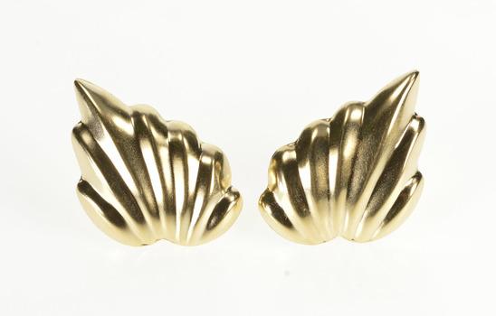 14K Puffy Scalloped Retro Ornate Fashion Yellow Gold Earrings