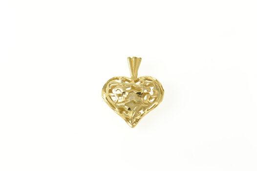 14K Puffy Scroll Filigree Pearl Heart Love Yellow Gold Pendant