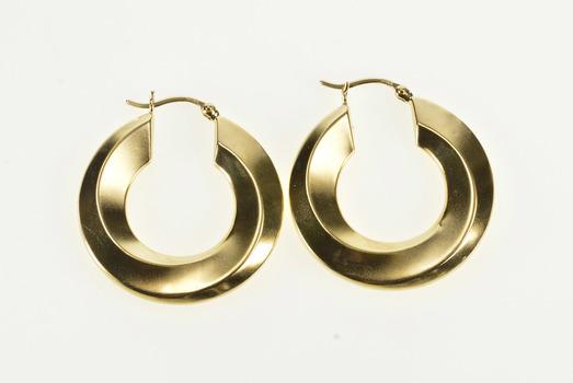 14K Puffy Wavy Twist Ornate Retro Fashion Hoop Yellow Gold Earrings