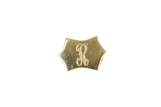 14K R Letter Initial Monogram Slide Bracelet Yellow Gold Charm/Pendant
