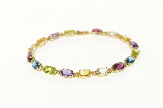 "14K Rainbow Diamond Accent Flower Link Tennis Yellow Gold Bracelet 7.25"""
