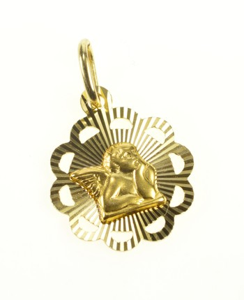 14K Raphael Cherub Baby Angel Health Symbol Yellow Gold Charm/Pendant