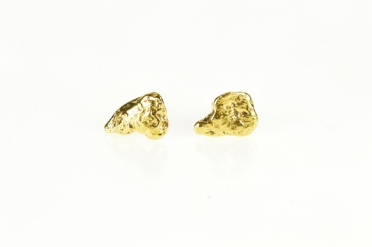 14K Raw Textured Nugget Africa Shape Stud Yellow Gold Earrings