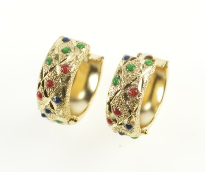 14K Red Blue Green Enamel Checkered Hoop Yellow Gold Earrings