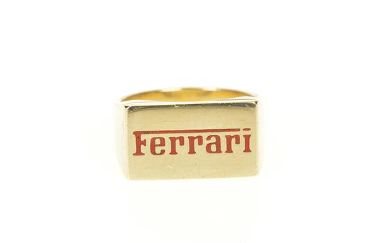 14K Red Enamel Ferrari Logo Squared Men's Yellow Gold Ring, Size 11.5