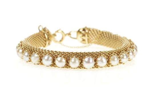 "14K Retro 1960's Pearl Mesh Chain Statement Yellow Gold Bracelet 7.25"""