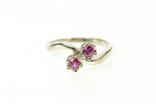 14K Retro 1960's Syn. Ruby Bypass Statement White Gold Ring, Size 8.25