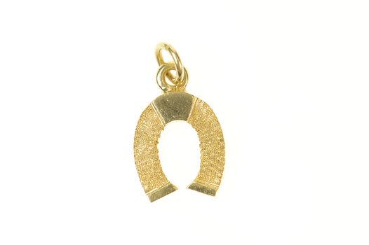 14K Retro 1960's Textured Horse Shoe Lucky Yellow Gold Charm/Pendant