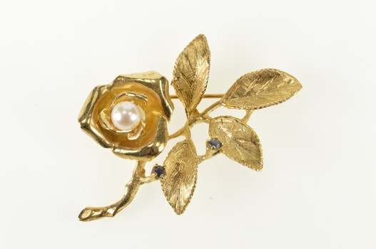 14K Retro 3D Rose Flower Pearl Sapphire Statement Yellow Gold Pin/Brooch