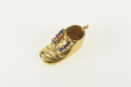 14K Retro 3D Sapphire Ruby Baby Shoe Sneaker Yellow Gold Charm/Pendant
