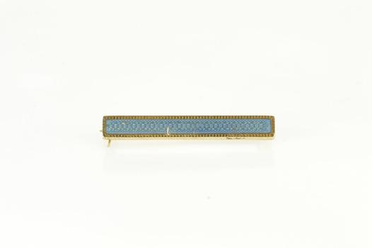 14K Retro Blue Enamel Ornate Etched Bar Yellow Gold Pin/Brooch
