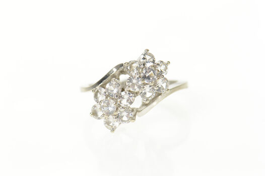 14K Retro Classic Flower Cluster CZ Bypass White Gold Ring, Size 6.25