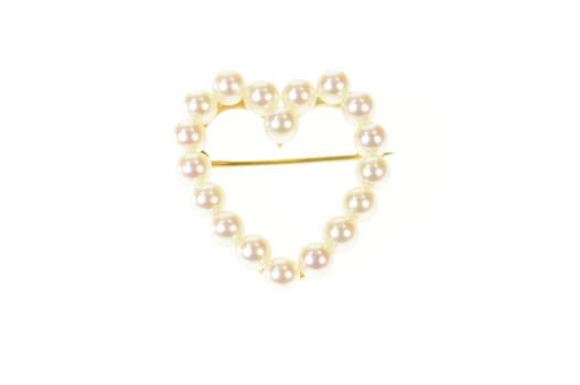 14K Retro Classic Pearl Heart Love Symbol Yellow Gold Pin/Brooch