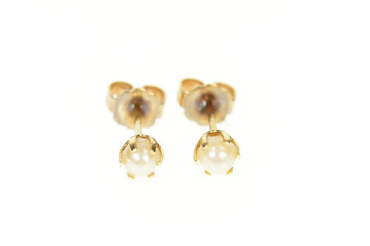14K Retro Classic Pearl Simple Stud Yellow Gold Earrings