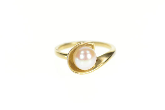 14K Retro Classic Pearl Wavy Bypass Yellow Gold Ring, Size 5