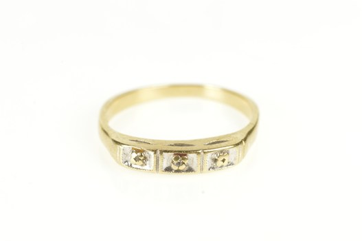 14K Retro Diamond Inset Simple Wedding Band Yellow Gold Ring, Size 6