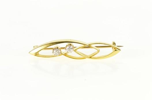 14K Retro Diamond Inset Wavy Curvy Design Yellow Gold Pin/Brooch