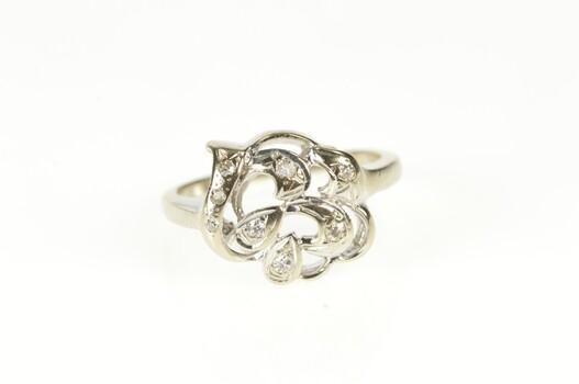 14K Retro Diamond Inset Wavy Heart Statement White Gold Ring, Size 5