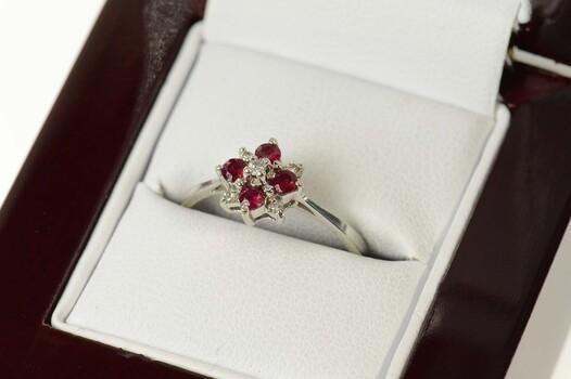 14K Retro Diamond Ruby Cluster Engagement White Gold Ring, Size 7