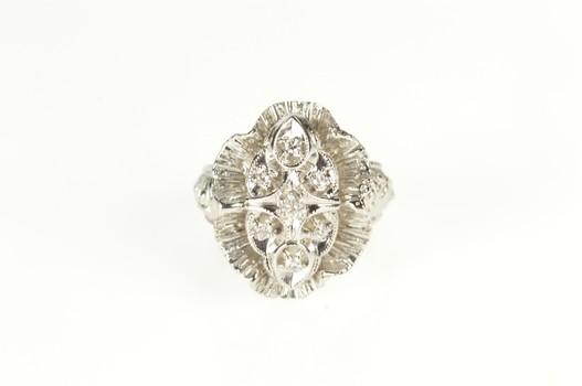 14K Retro Diamond Scalloped Halo Statement Cocktail White Gold Ring, Size 5