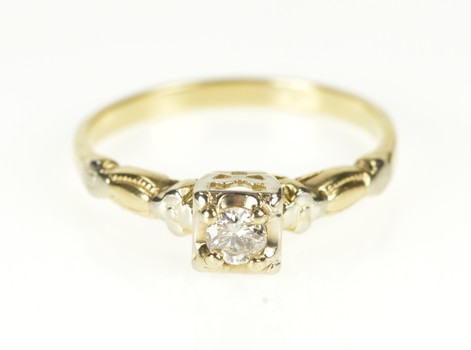 14K Retro Diamond Solitaire Floral Promise Yellow Gold Ring, Size 6.5